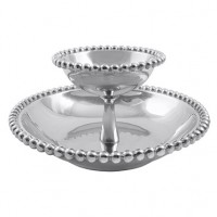 Mariposa Pearled Tiered Chip & Dip Server