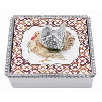 Mariposa Thanksgiving Napkin Box with Turkey Weight