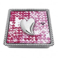 Mariposa Beaded Napkin Box w/Heart Napkin Weight - Available from SilverGallery.com