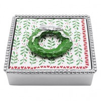 Mariposa Napkin Box with Green Wreath Weight
