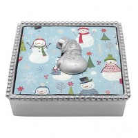 Mariposa Napkin Box w/White Snowman Weight
