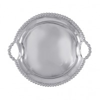 Mariposa String of Pearls Round Tray w/Handles