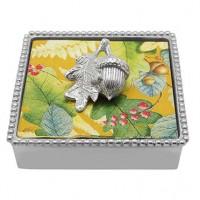 Mariposa Beaded Napkin Box with Acorn Napkin Weight