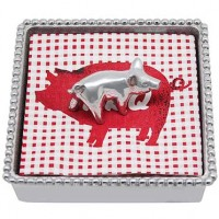 Mariposa Pig Beaded Napkin Box