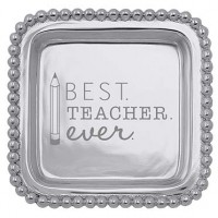 "Mariposa ""Best Teacher Ever"" Beaded Square Tray"