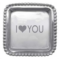 "Mariposa ""I ♥ You"" Beaded Square Tray"