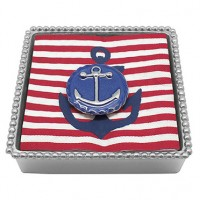 Mariposa Twist Napkin Box w/Blue Anchor Emblem Weight