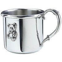 Salisbury Easton Pewter Baby Cup with Teddy Bear
