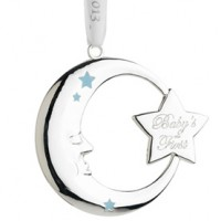 Reed & Barton Baby's 1st Christmas Moon Ornament - 2015 Blue Ribbon