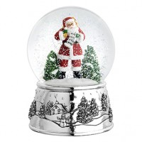 Reed & Barton Classic Christmas Santa Snowglobe - Available from SilverGallery.com
