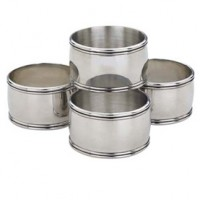Reed & Barton Pewter Kent Napkin Rings - Set of 4