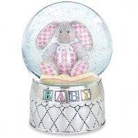 Reed & Barton Musical Gingham Bunny Waterglobe