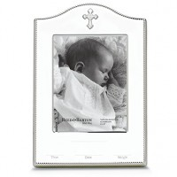 Reed & Barton Abbey Cross Birth Record Picture Frame - 4 x 6