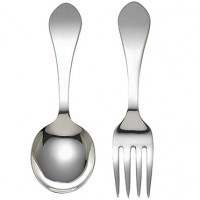 Reed & Barton Pointed Antique Sterling Silver Baby Fork & Spoon Set