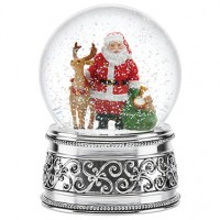 Reed & Barton Santa & Reindeer Musical Snowglobe