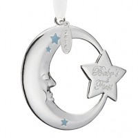 Reed & Barton 2016 Baby's 1st Christmas Crescent Moon Ornament - Blue