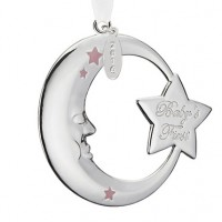 Reed & Barton 2016 Baby's 1st Christmas Crescent Moon Ornament - Pink