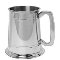 Salisbury Double Line Pewter Engraved Beer Tankard - 16 oz.