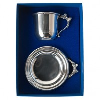 Salisbury Pewter Bow Handle Cup & Porringer Baby Gift Set