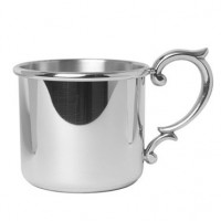 Salisbury Pewter Straight Edge Baby Cup w/Scroll Handle