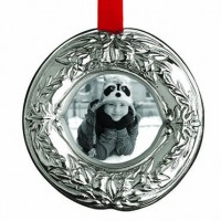 Reed & Barton Holiday Wreath Sterling Silver Picture Frame Ornament