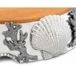 Arthur Court Coastal Scallop Shell Wooden Cheese Pedestal