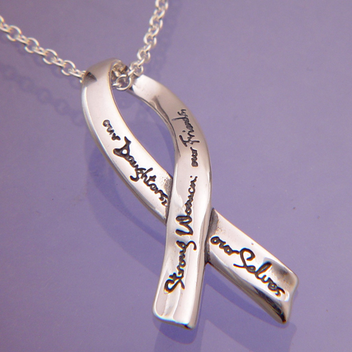 Sterling Silver Ribbon Necklace Strong Women