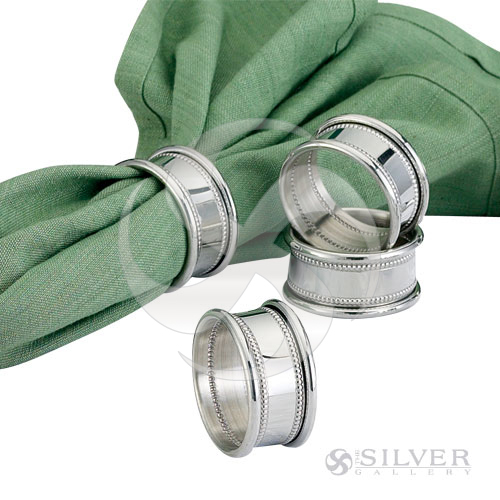Empire Pewter Beaded Napkin Rings Set Of 4