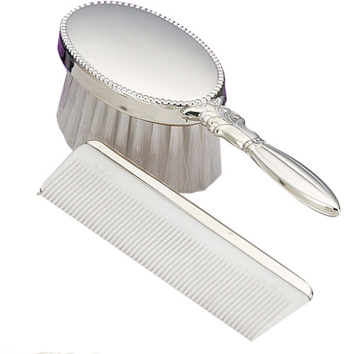 Sterling Silver Girls Oval Beaded Brush And Comb Set From