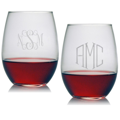 Susquehanna Stemless Wine Glass Set Of 4 Monogrammed