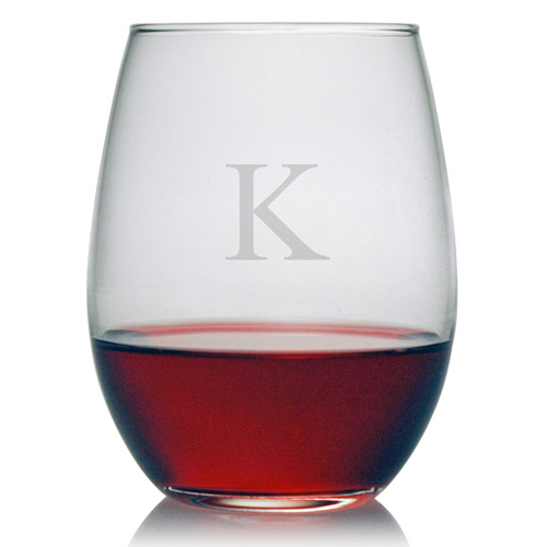 Stemless Wine Glasses Initial Set Of 4 Monogrammed