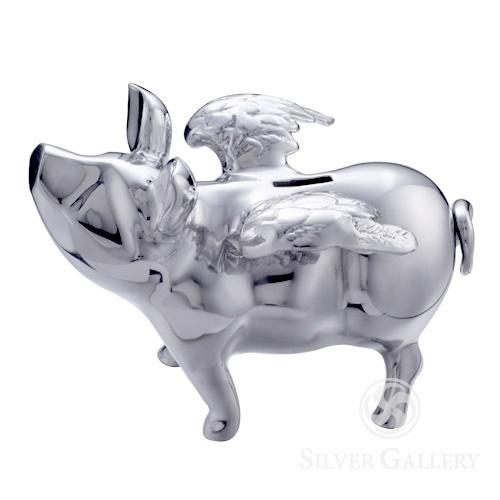 Lunares Pigs Do Fly Piggy Bank Silver