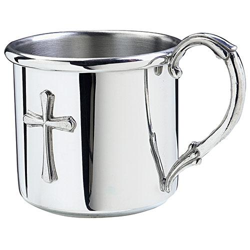 Salisbury Easton Pewter Baby Cup W Cross Engraved