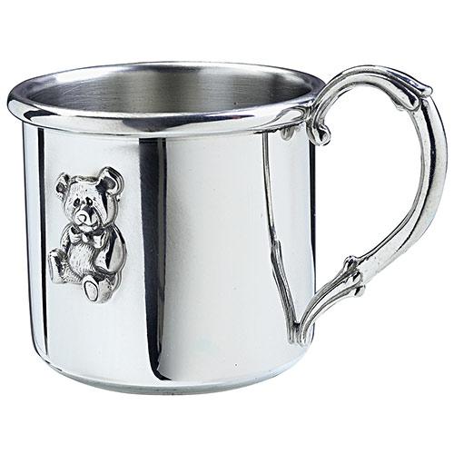 salisbury easton pewter baby cup with teddy bear