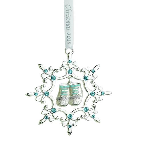 Baptism Blue Child Of God Customizable Snowflake Pewter: Reed & Barton Baby's 1st Christmas Snowflake Ornament